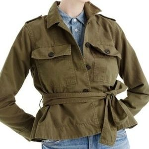 NWT J. Crew Cropped Cargo Green Belted Jacket